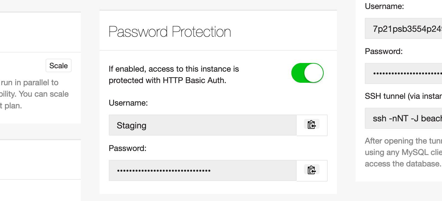 Screenshot of the Beach password protection dialog