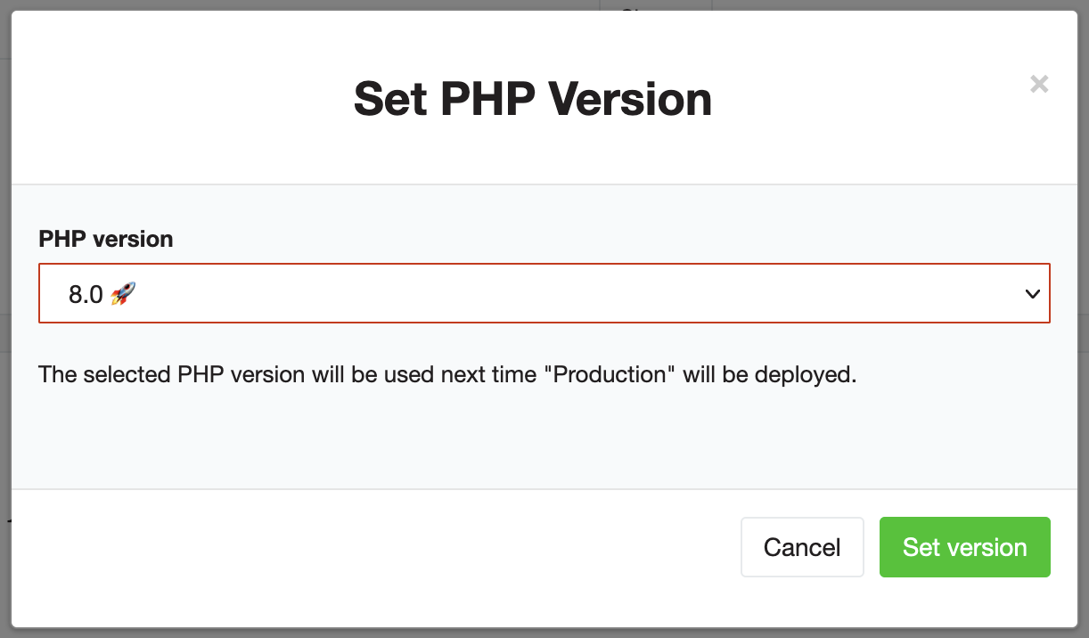 Selecting the PHP version for an instance in Flownative Beach